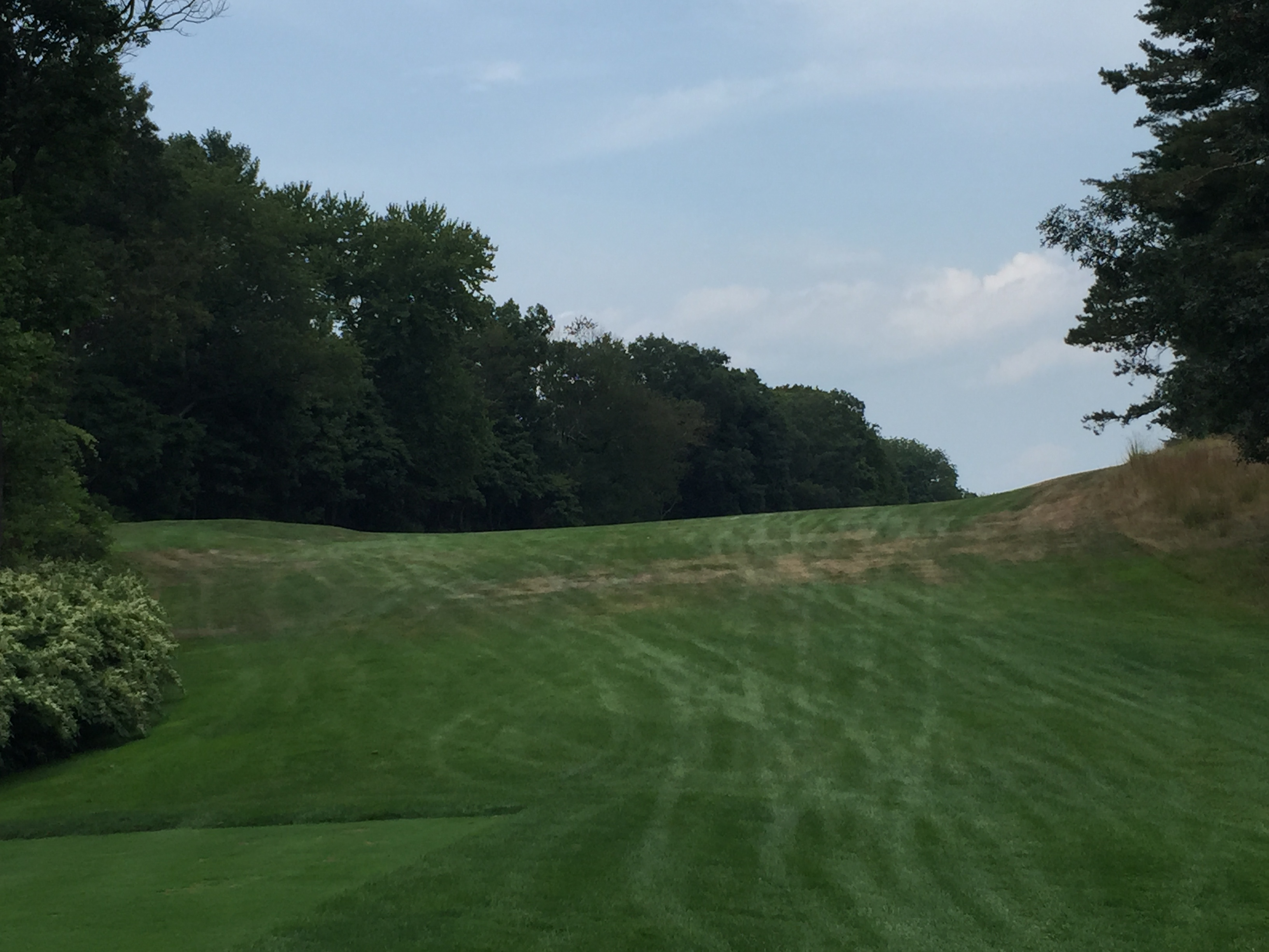 The scary fade tee shot on this par 5 . . . you run out of room on the left quickly!